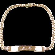 "Vintage 14k Gold Diamond ID Bracelet ~ 8"""
