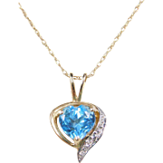 Vintage 14k Gold Two-Tone Blue Topaz and Diamond Heart Necklace ~ 18""