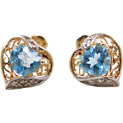 Vintage 14k Gold Two-Tone Blue Topaz and Diamond Heart Stud Earrings