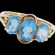 Vintage 14k Gold Blue Topaz Ring
