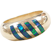 Vintage 14k Gold Opal Inlay Ring