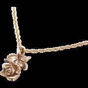 """Vintage 14k Gold Rose Flower Necklace ~ 16"""""""