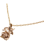 Vintage 14k Gold Rose Flower Necklace ~ 16""