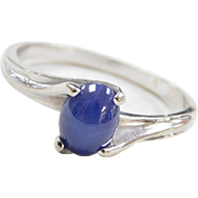 Vintage 14k White Gold Created Star Sapphire Ring