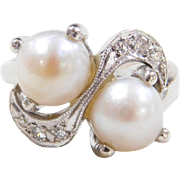Vintage 14k White Gold Bypass Cultured Pearl and Diamond Ring