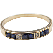 Vintage 14k Gold Sapphire and Diamond Band Ring