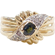 Vintage 14k Gold Two-Tone Sapphire and Diamond Ring