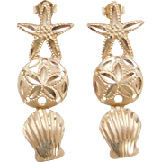 Vintage 14k Gold Nautical Earrings