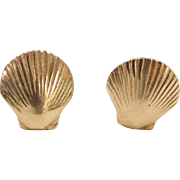 Vintage 14k Gold Shell Stud Earrings