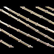 "Vintage 14k Gold LONG Bar Chain ~ 44""~ 16.2 Grams"