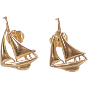 Vintage 14k Gold Sailboat Stud Earrings
