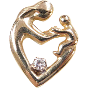 Vintage 14k Gold Diamond Mother and Child Pendant