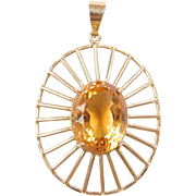Vintage 18k Gold Citrine Pendant