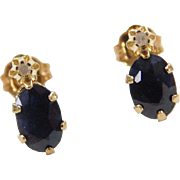 Vintage 14k Gold Sapphire and Diamond Earrings