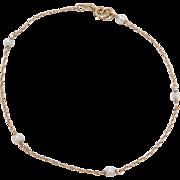 """Vintage 14k Gold Cultured Pearl Station Bracelet ~ 8"""""""