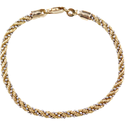 Vintage 14k Gold Two-Tone Rope and Bead Bracelet ~ 7""