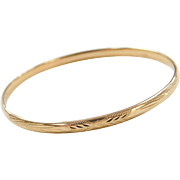 """Vintage 14k Gold Hinged Bangle Bracelet ~ 6 3/4"""""""