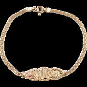 """Vintage 14k Gold Two-Tone #1 MOM Bracelet ~ 7"""""""