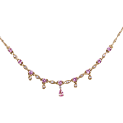 Vintage 14k Gold Pink Sapphire and Diamond Necklace ~ 17""
