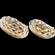 Vintage 14k Gold Diamond Cut Earrings