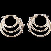 Vintage 10k Gold Two-Tone Diamond Hoop Earrings