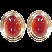 Vintage 14k Gold Carnelian Stud Earrings