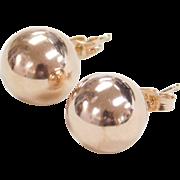 Vintage 14k Rose Gold Ball Stud Earrings