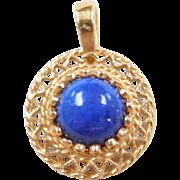 Vintage 14k Gold Lapis Pendant