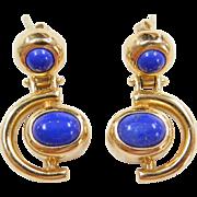 Vintage 14k Gold Lapis Earrings