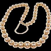 "Vintage 14k Gold BIG Graduated Bead Necklace ~ 17 1/2"""