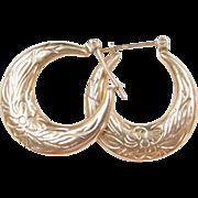 Vintage 14k Gold Flower Hoop Earrings