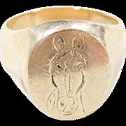 Vintage 14k Gold Gents Horse Ring