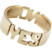 Vintage 14k Gold YES and NO Ring