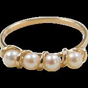Vintage 14k Gold Cultured Pearl Ring