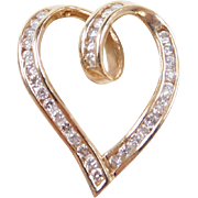 Vintage 10k Gold Diamond Heart Pendant