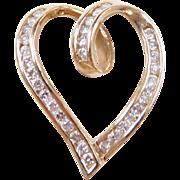 Vintage 10k Gold Diamond Heart Pendant