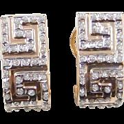 Vintage 14k Gold Two-Tone Greek Key Earrings ~ Rhinestone