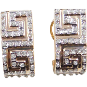 Vintage 14k Gold Two-Tone Greek Key Earrings ~ Rhinestone