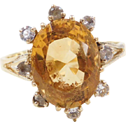 Vintage 18k Gold Citrine and White Sapphire Ring
