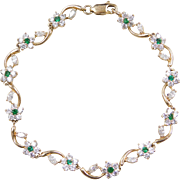 Vintage 14k Gold Faux Diamond and Faux Emerald Flower Bracelet 7 1/4""