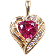 Vintage 10k Gold Ruby and Diamond Heart Pendant