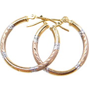 Vintage 10k Gold Tri-Color Hoop Earrings