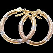 Vintage 10k Gold Tri-Color Hoop Earrings