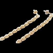 Vintage 14k Gold Long Dangle Earrings