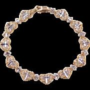 "Vintage 10k Gold Two-Tone Religious Heart Bracelet ~ 6 1/2"""
