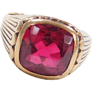 Vintage 10k Gold Created Ruby Gents Ring