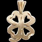 Vintage 14k Gold Four Leaf Clover Charm