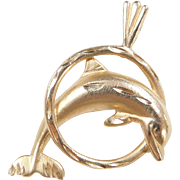 Vintage 14k Gold Dolphin Charm  / Pendant