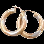 Vintage 14k Gold Tri-Color Hoop Earrings