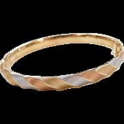 """Vintage 14k Gold Tri-Color Bangle Bracelet ~ 7 1/4"""""""